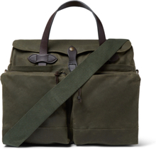 24-hour Leather-trimmed Coated-canvas Briefcase - Dark green