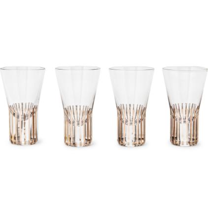 Tank Set Of Four Striped Shot Glasses - Gold