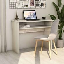vidaXL Skrivebord høyglans hvit 90x50x74 cm sponplate