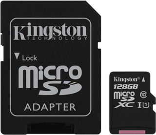 Kingston 128GB microSDXC Canvas Select 80R CL10 UHS-I Card+SD Adapter