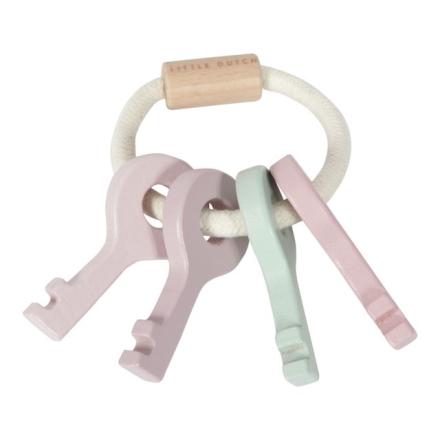 Little Dutch nøkler av tre til baby, rosa