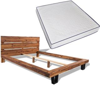 vidaXL seng med madras i memoryskum massivt akacietræ 180 x 200 cm