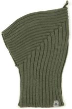 Huttelihut pixie balaclava lue i bomull, army grønn