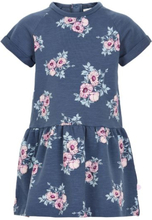 b33d5cf9 Minymo kjole til barn med blomster, blågrå