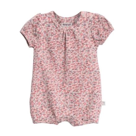 Wheat romper til baby jente med blomsterprint, rosa