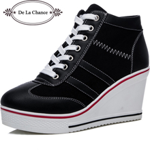 New Plus Size Women Wedge Sneakers Causal Shoes Woman Breathable Platform Black White Canvas Shoes Lace Up Hidden Wedge Shoe