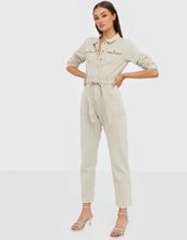 Missguided Belted Button Denim Boilersuit