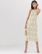 ASOS EDITION - Halterneck klänning med kristaller och paljetter - Elfenben