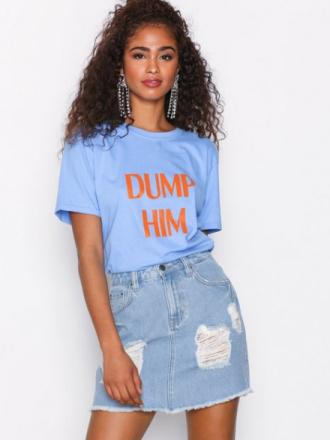 Miniskjørt - Light Blue Denim NLY Trend Destroy Mini Denim Skirt