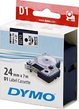 DYMO D1, markeringstape, 24 mm, sort tekst på hvid tape, 7 m.