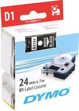 DYMO D1, markeringstape, 24 mm, hvid tekst på sort tape, 7 m.