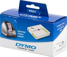 DYMO LabelWriter farvede etiketter(gule, pink, blå, grønne), 89x28 m