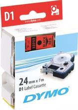 DYMO D1, markeringstape, 24mm, sort tekst på rød tape, 7m - 53717