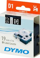 DYMO D1, markeringstape, 19mm, hvid tekst på sort tape, 7m - 45811