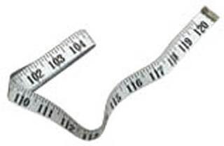 Målebånd viser cm. og tommer. 1 meter.