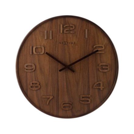 NEXTIME - Wood Wood Big Väggklocka - Brun/Grå/Vit, 53 cm
