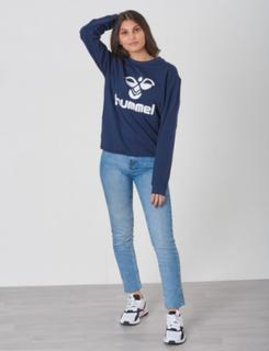 Hummel, DOS SWEATSHIRT, Blå, Gensere/Cardigans för Jente, 164 cm