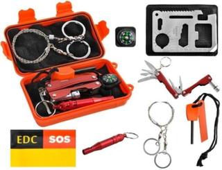 Överlevnadskit Med 7 Produkter I Vattentät Box. Orange