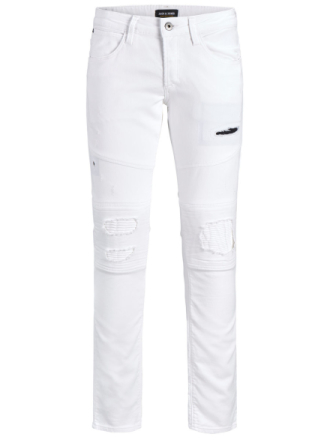 JACK & JONES Glenn Jaxx Biker Blanc De Blanc Trousers Men White