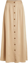 VILA Button Maxi Skirt Women Beige