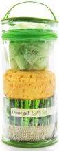 Baderomssett med svamp, loaf og belte