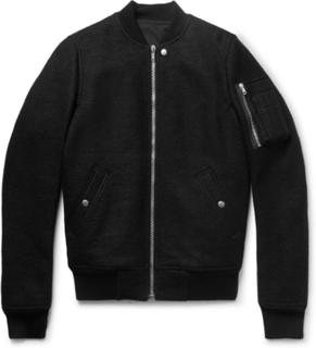 Boiled Virgin Wool Bomber Jacket - Black