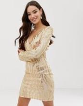 AX Paris - långärmad klänning med djup v-ringning och paljetter - Guld