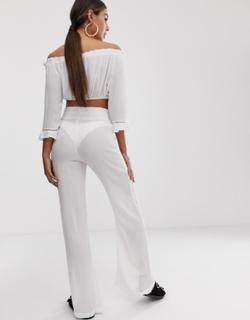 South Beach shirred top & beach trouser co-ord-White