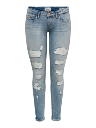 ONLY Onlcoral Low Ankle Destroyed Skinny Fit Jeans Women Blue