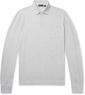 Slim-fit Mélange Cotton-jersey Polo Shirt - Light gray