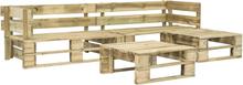 vidaXL Pallsoffa set 4 delar FSC-trä grön