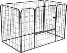 vidaXL robust hundegård 120 x 80 x 70 cm stål sort