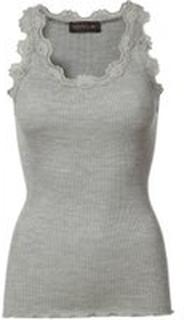Lysegrå Rosemunde Rosemunde Silk Top Vintage Lace - Grey Topper