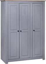 vidaXL Garderob 3 dörrar grå 118x50x171,5 cm furu