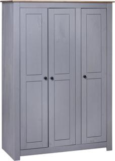 vidaXL Garderobeskap 3 dører grå 118x50x171,5 cm furu Panama Range