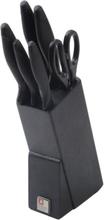 Richardson Sheffield Köksknivar med block 7 delar Laser Cuisine svart