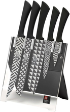 Richardson Sheffield Köksknivar med block 5 delar Love Colour Mono Geo