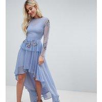 Lace & Beads - Blå broderad klänning med asymmetrisk längd - Blå