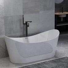 vidaXL Fristående badkar och blandare 204 L 90 cm svart