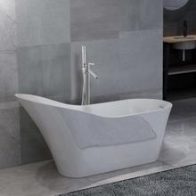 vidaXL Fristående badkar och blandare 210 L 110 cm silver