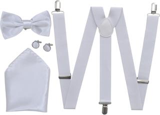 vidaXL Accessoarer till mörk kostym för män Hängslen & fluga Vit