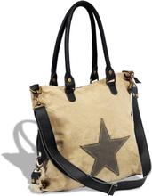 vidaXL Shoppingväska i tyg och äkta läder med stjärna beige