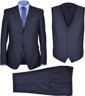 vidaXL Tredelad Business Kostym Herrar strl. 50 Marinblå