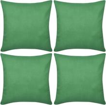 vidaXL 4 Kuddöverdrag i bomull gröna 50 x 50 cm