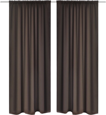 vidaXL Mörkläggningsgardiner med kanaler 2 st 135 x 245 cm brun