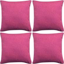 vidaXL Kuddöverdrag 4 st linne-design 80x80 cm rosa