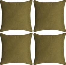 vidaXL Kuddöverdrag 4 st linne-design 80x80 cm grön