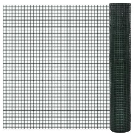 vidaXL Firkantet trådnet 1x10 m PVC-belagt, galvaniseret Maskestr. 16x16 mm