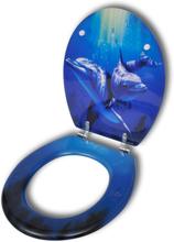 vidaXL WC-istuimen kansi MDF Hard Close Upea Delfiini Kuvio