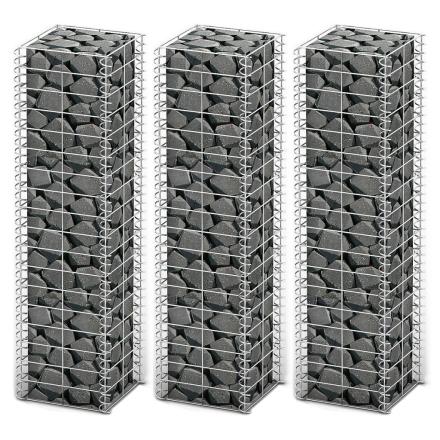 vidaXL Gabion-/kivikorisarja 3kpl galvanoitu metallilanka 25x25x100cm